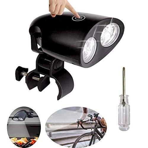 Draagbare barbecue, aluminiumlegering, led-grillclip, 360 graden draaibaar, 3 helderheden, voor camping, party, fiets, kast enz.