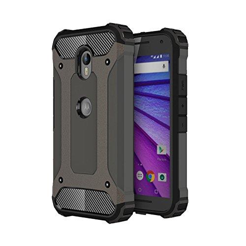Guran® Hülle Für Motorola Moto G 3 Generation, [Stoßfestes Etui] Raffinierte Kombination aus Rutschfestem TPU Zubehör mit Ganzkörper-Rugged Hülle (Bronze)