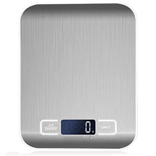 MeterBew1147 Báscula electrónica de Cocina Báscula de Alimentos Báscula de Cocina de Acero Inoxidable Báscula electrónica de 5 kg / 10 kg (sin batería)