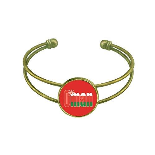 DIYthinker Oman Land Flagge Name Art Deco Geschenk Mode Armband Armreif Retro Offene Manschette Schmuck