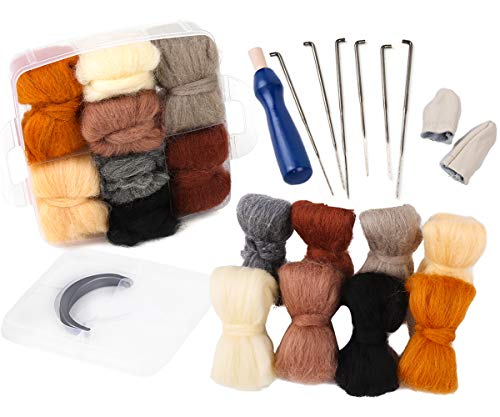 Needle Felting Kit, Needle Felting Starter Kit, 8 Colors Wool Roving for Needle Felting, Fibre Wool Yarn Roving with Plastic Storage Box, Wool Felt Tools with Felting Needles