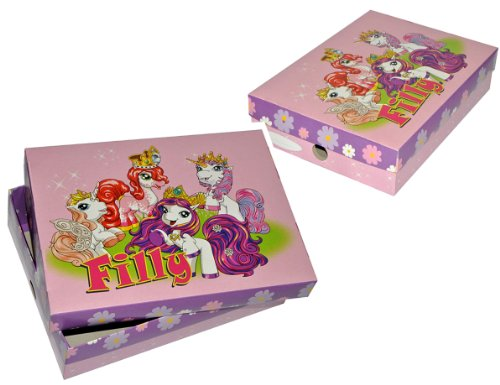 alles-meine.de GmbH Schulbox / Kreativbox Filly Pferde Einhorn Fairy aus stabilem Karton - Zeichenbox / Schachtel / Spielzeugkiste / Malbox Box Kiste