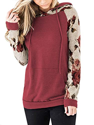 TEMOFON Womens Floral Hoodies Long Sleeve Drawstring Casual Sweatshirts Pullover Tops with Pockets Red M