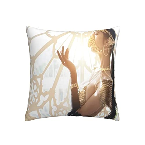 KENADVI Fundas de Almohada Retrato de Mujer asiática Sexy con máscara de Fansy Dorada Disfraz Funda de Almohada Decorativa Funda de cojín Funda de Almohada para sofá Sofá 18x18 Pulgadas 1pc
