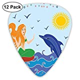 Médiators - Pack de 12, Dolphin and Mermaid Girl On The Sea Blue Waves Colorful Summertime Drawing, For Bass Electric Acoustic Guitar