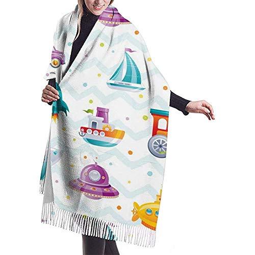 Brave Har Bufanda de dibujos animados juguete barco tren coche cohete patrón moda mujer cachemira chal abrigos invierno bufanda grande