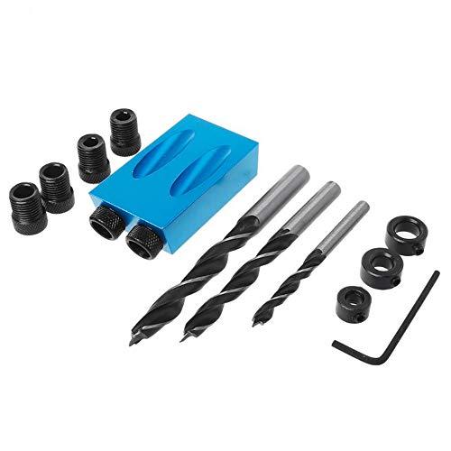 14 Teile/satz Taschenloch Jig Kit Antriebsadapter für Holzbearbeitung Winkel Bohrlöcher Führungsdübel Jig Holz Werkzeuge 6mm 8mm 10mm