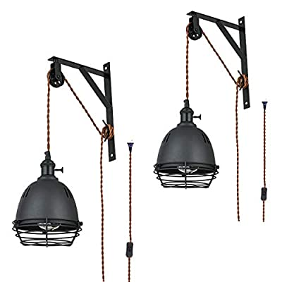 SEEBLEN Vintage Design Industrial Wheel Farmhouse Wall Mount Pulley Wall Pendant Lamp with 15-Foot Brown Plug and Switch , Adjustable Wall Sconce Sand Black Lampshade and Iron Cage Wall Light Set of 2