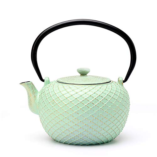 Tea Kettle, Toptier Japanese Tetsubin Cast Iron Teapot with Infuser for Loose Tea, Tea Kettle Stovetop Safe, 29 Ounce (850 ml), Green Net