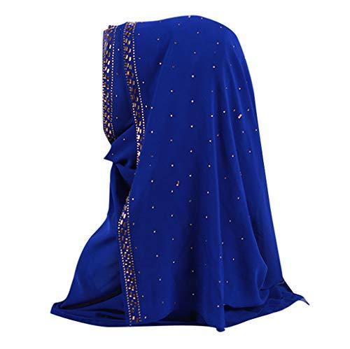 Lazzboy Shimmer Sparkle Gold Glitters Plain Chiffon Muslim Hijab Schal Halstuch Uslimische Kopftuch Turban-hüte Perlen Indien Hut Muslimischen Rüschen Krebs Chemo Beanie Turban Wrap Cap(K)