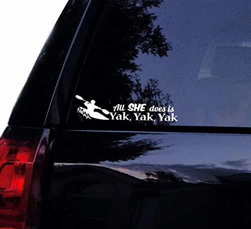 DKISEE All She Does is Yak Yak Yak Aufkleber – Lustiger Lady Kayaker Kajak Boot Aufkleber Vinyl Auto Laptop Aufkleber Auto Fenster Yeti Tumbler Aufkleber 15,2 cm