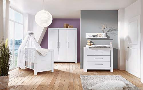 Schardt 11 796 02 00 Kinderzimmer Nordic White bestehend aus Kinderbett, Umbauseiten, Wickelkommode und 3-trg. Schrank, weiß