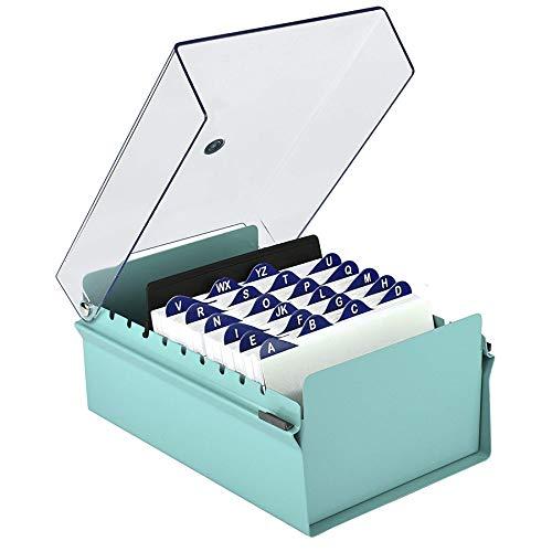 Acrimet Fichero Tarjetero Organizador de Escritorio con Divisor y Indice A-Z incluso (Base de Metal Resistente Color Verde y Tapa de Plástico Transparente) (Índice A-Z 155mm de ancho x 115mm de alto) 🔥