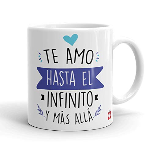 Kembilove Taza Desayuno para Parejas – Tazas Originales con Mensaje Te amo hasta el infinito y más allá color azul – Taza de Café y Té para Madres – Tazas de Regalo para el día de San Valentín