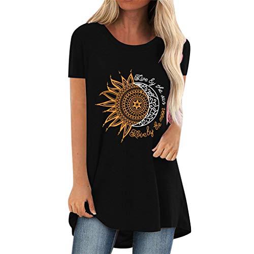 Moon And Sun Tshirt, Donna Ragazza 3D Live By The Sun Love By The Moon Maglietta Manica Corta Estate Casual Sole e Luna Stampa Lunga Maglia Tee Shirt Camicia Tops Christian Faith Camicetta (6B,M)