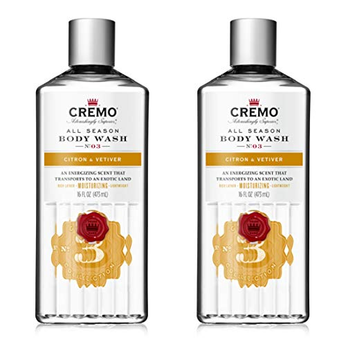 Cremo Rich-Lathering Citron & Vetiver Body Wash, A Citrus Scent with Notes of Grapefruit, Ginger and a Touch of Vetiver, 16 Oz (2-Pack)