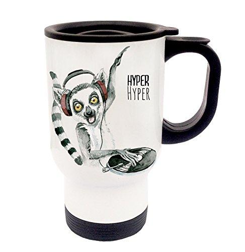 ilka parey wandtattoo-welt Thermobecher Thermotasse Coffee to go Becher Tee Kaffee campingbecher Reisebecher DJ Lemur Diskjockey Hyper Hyper tb016