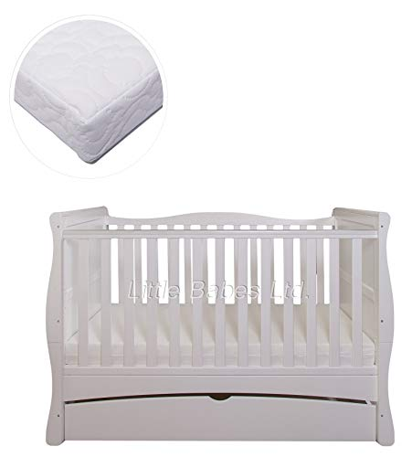 New Little Babes Ltd White Convertible Mason Cot Bed + ECO HD Airflow Nursery Fibre Mattress 140x70x10cm / Baby Sleigh Cot Bed & Mattress