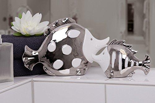 Moderne Skulptur Fisch Badezimmerdeko aus Keramik weiß/silber Länge 15 cm Höhe 10 cm - 1 Stück