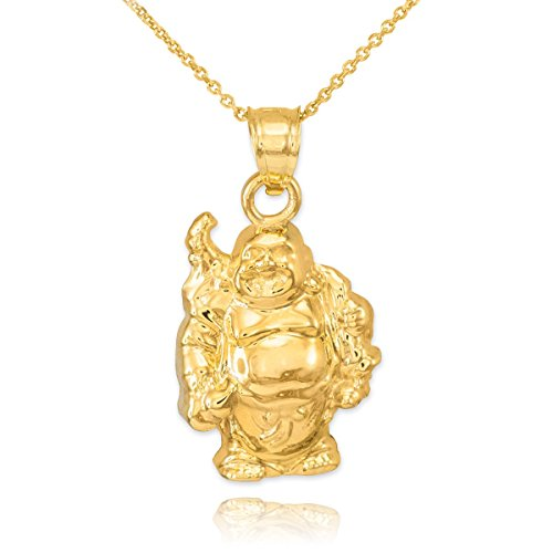 Good Luck Charms Fine 14k Yellow Gold Laughing Buddha Pendant Necklace, 22'