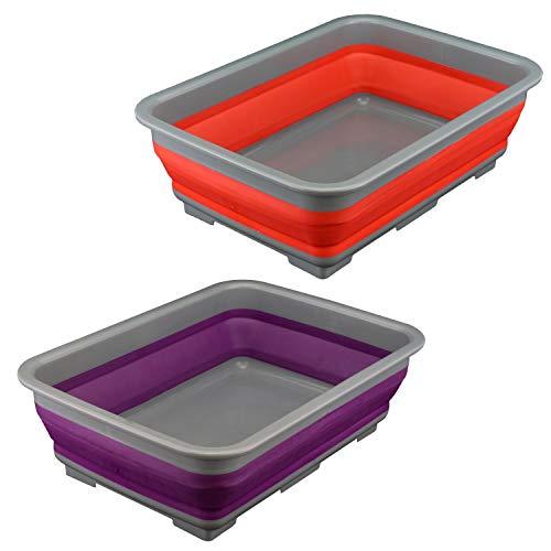 Roden Hovuk® 10 l faltbare Spülschüssel für Wasser, wiederverwendbar, Camping, rutschfeste Unterseite, 2 Stück