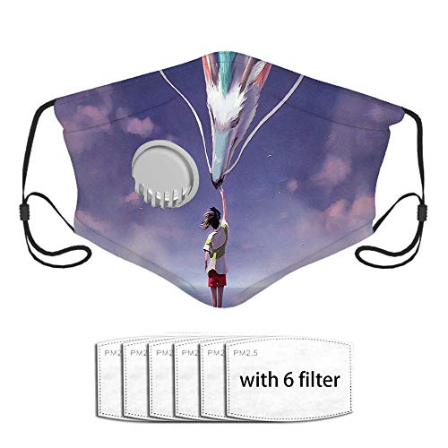 Spirited Away anime Face Coer Cloth Polyester Dust Mouth Bandana with 6 Filters