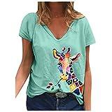 Dasongff Camiseta de verano para mujer, cuello en V, estampado de jirafa, manga corta, holgada