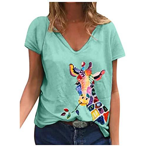 YANFANG Blusa para Mujer Holgada con Estampado de Mariposas de Moda de Verano con Cuello en V Profundo Talla Grande de Manga Corta Casual Adolescente Camiseta (XL, Green02081)