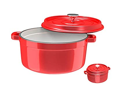 Especo Cast Iron with Lid Enameled Dutch Oven Casserole Dish Nonstick Multi-functional Cookware Large Loop Handles & Self-Basting Condensation Ridges On Lid (4-quart, Red)