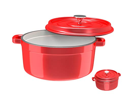 Especo Cast Iron with Lid Enameled Dutch Oven Casserole Dish Nonstick Multi-Functional Cookware 4-Quart Large Loop Handles & Self-Basting Condensation Ridges On Lid Small(Red)