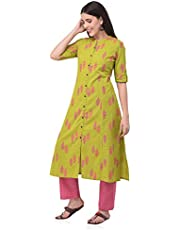 Pistaa's Women's Cotton Printed Kurta with Palazzo Pant Set (Green)