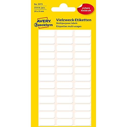 Avery Zweckform 3073 Haushaltsetiketten selbstklebend (20x8mm, 234 Aufkleber auf 6 Bogen, Vielzweck-Etiketten für Haushalt, Schule und Büro zum Beschriften und Kennzeichnen) blanko, weiß