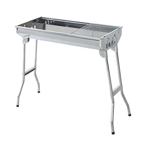 Outsunny Griglia Barbecue BBQ Portatile e Pieghevole in Acciaio Inox 73×33×71cm