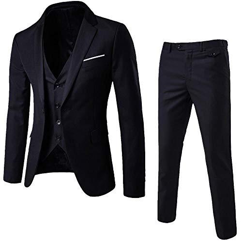 Logobeing Trajes de Hombre para Boda Slim Suit Chaqueta Delgada de 3 Piezas Blazer de Negocios Banquete de Boda Chaleco y Pantalones (L,Negro)