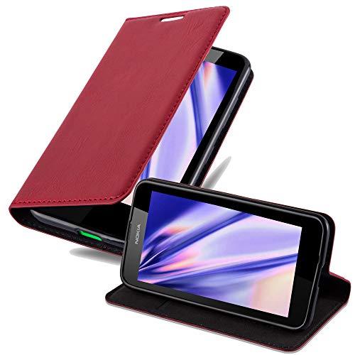 Cadorabo Hülle für Nokia Lumia 630 - Hülle in Apfel ROT – Handyhülle mit Magnetverschluss, Standfunktion und Kartenfach - Case Cover Schutzhülle Etui Tasche Book Klapp Style