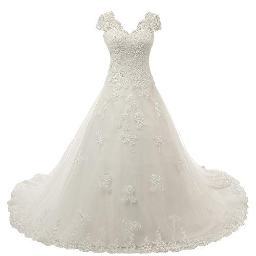 Zorayi Damen V-Ausschnitt Vintage Spitze Hochzeitskleid Brautkleider Elfenbein Größe 48