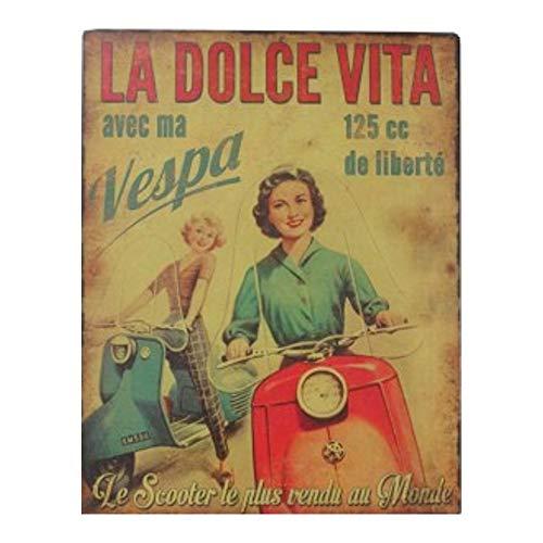 Antic Line Plaque « Vespa la Dolce Vita »28 * 22 cm