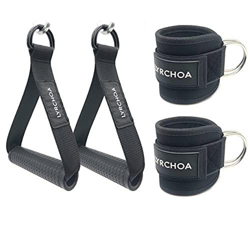 Lyrchoa - Manija de banda de resistencia para ejercicio + correa de tobillo para máquina de cables, accesorio de gimnasio, para máquina de cables, apto para hombres y mujeres