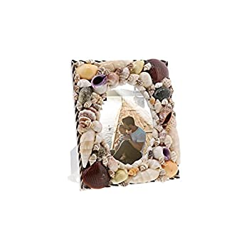 Li Shay Natural Shell Picture Frame on Stand with Oval Shaped Photo Slot-Multi Colored
