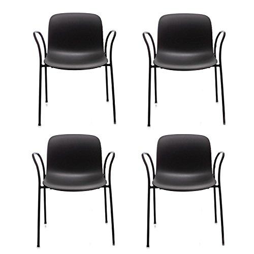Magis Troy Armlehnstuhl Outdoor 4er Set, schwarz Gestell schwarz 4 Stühle