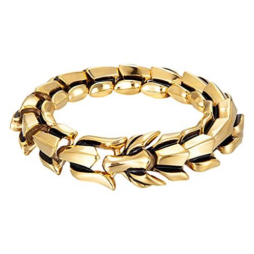 harayaa Pulsera de Escala de dragón, joyería Vintage de Moda, brazaletes de Acero de Titanio para Hombre, brazaletes con dijes, Brazalete de Motociclista, Oro 9.05 Pulgadas