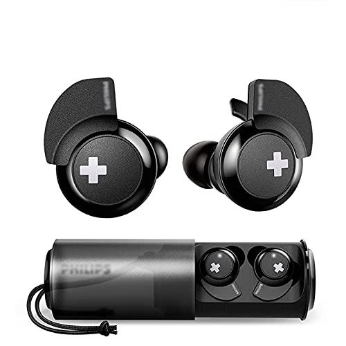 HJFGIRL Auriculares Bluetooth 4.1, In-Ear Auriculares con Caja de Carga, Auriculares Deportivos con Cancelación de Ruido, Doble Micrófono Incorporado, Control Táctil, Calidad de Sonido HD,Black