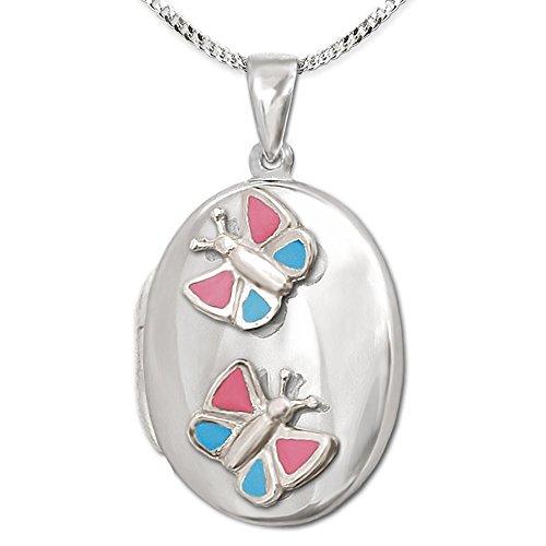 Clever Schmuck Juego de colgante plateado para niña, medallón ovalado de 22 mm con mariposa rosa lacada en azul y cadena de 42 cm de plata de ley 925 en estuche rosa