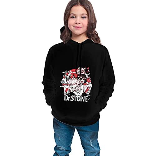Sudaderas con Capucha Niño Dr. Stone Logo Sudaderas con Capucha de Poliéster para Niñas Adolescentes Suéteres con Bolsillo Ropa para niños