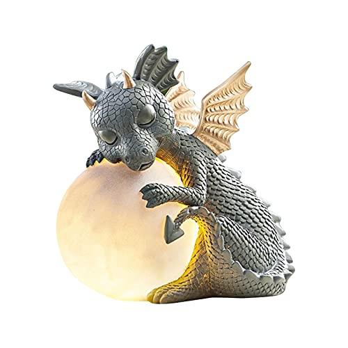 gormyel Estatua de hada pequeño dinosaurio meditación decoración jardín resina artesanía figura estatua decoración de jardín