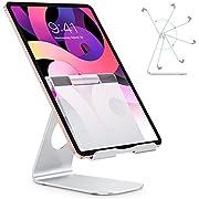 OMOTON Support Tablette Réglable Universel, Stand De Bureau avec Rotation 225° Multi-Angles en Aluminium pour Smartphone, E-Readers, Tablette Moins De 12.9 Pouces, Argenté