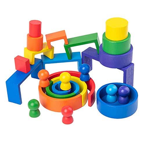 sharprepublic Juguetes de Madera Iris para niños pequeños Juguetes de Aprendizaje Forma de Madera clasificador de Color Juguetes interactivos para Padres e