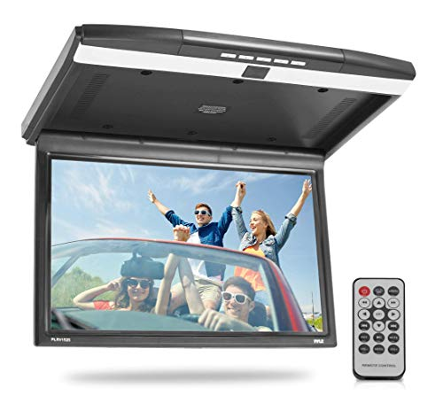 15.6-Inch Overhead Flip-Down Car Monitor - Hi-Res 1680x800p Widescreen Car Roof Mount Monitor, Vehicle Flip Down Overhead Screen w/IR, FM Transmitter, USB/SD, HDMI, AV, Stereo Speaker - Pyle PLRV1525