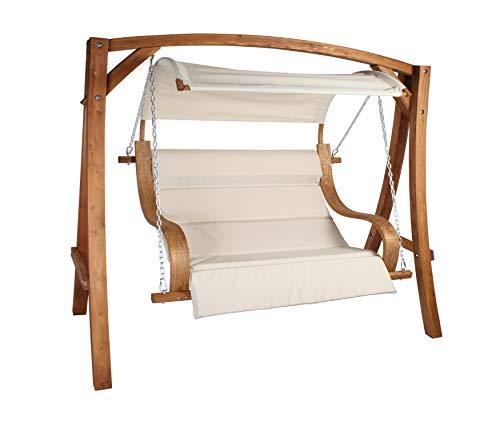 vanvilla Hollywoodschaukel ALBARELLA Gartenschaukel aus Lärche Holzfarbe Teak/Stoff Khaki Holzschaukel Lärchenholz