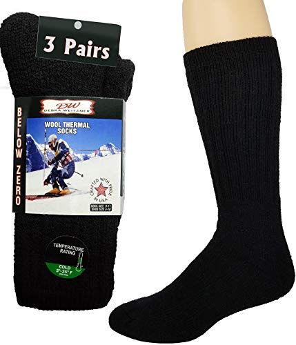 Thermal Socks Merino Wool For Men and Women - Extra-Warm Winter Cold Weather Boot Socks by Debra Weitzner (3 Pairs)